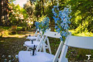 allestimento bianco e azzurro matrimonio